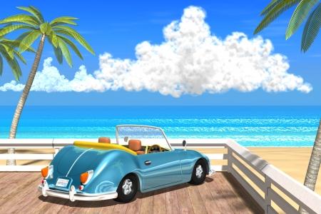 2018年8月 夏の海と椰子の木と車-1