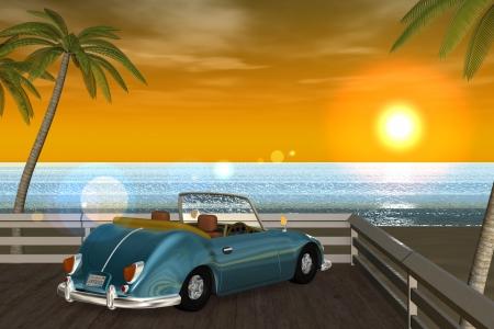 2018年9月 3DCG壁紙 夏の海と椰子の木と車(夕陽)