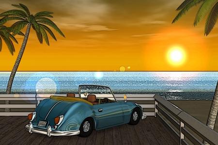 2018年9月 3DCG壁紙 夏の海と椰子の木と車(夕陽)漫画風