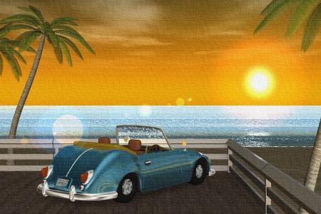 2018年9月 3DCG壁紙 夏の海と椰子の木と車(夕陽)キャンバス風