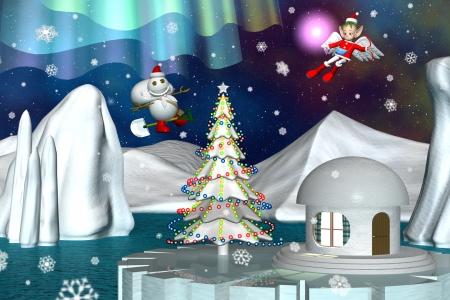 2017年12月 スノーポストマン(雪だるま)とエンジェル