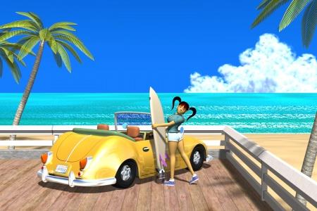 2021年4月 3Dキャラクター夏のシティポップ風2