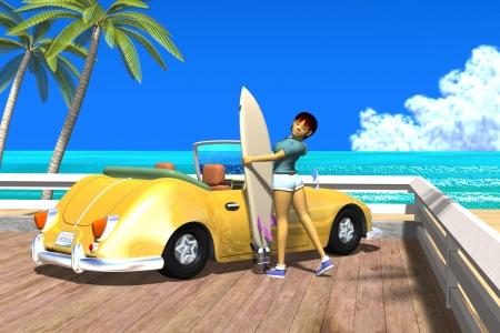 2021年5月 3Dキャラクター夏のシティポップ風2s