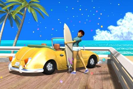 2021年5月 3Dキャラクター夏のシティポップ風2-2s