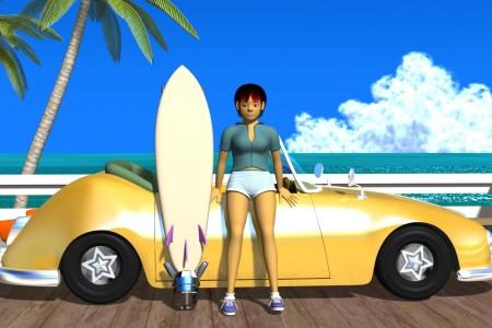 2021年5月 3Dキャラクター夏のシティポップ風3s