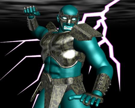 怒る戦士と雷(3Dキャラクター)