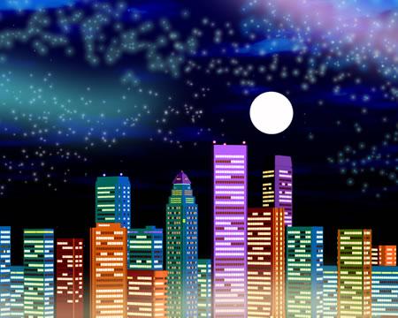 高層ビル群の夜景(正面)(3Dの建物・街)