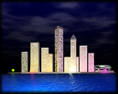 3Dの建物/街・湾岸ビル群