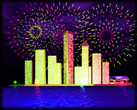 湾岸ビル群と花火(3Dの建物・街)