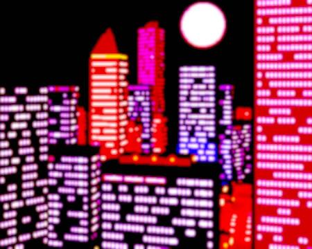 高層ビル群の夜景(3Dの建物・街)
