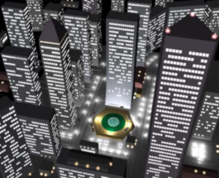 高層ビル群の夜景(上から)(3Dの建物・街)