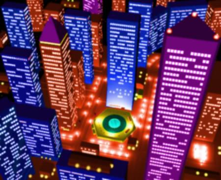 高層ビル群の夜景(別色調)(3Dの建物・街)