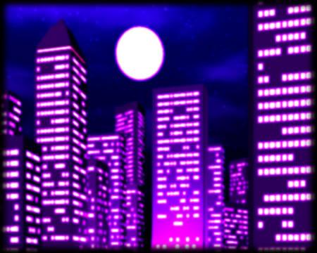高層ビル群の夜景(下から)(3Dの建物・街)