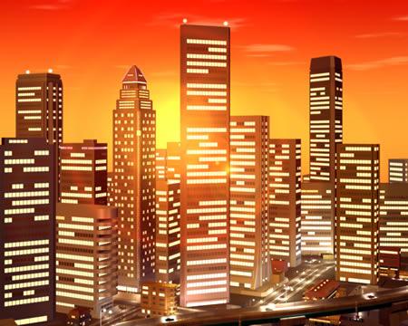 高層ビル群の夕焼(3Dの建物・街)