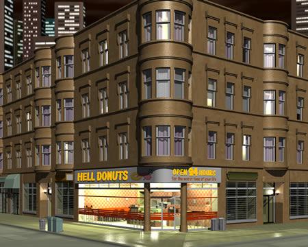 Hell Donuts(地獄のドーナッツ屋)(3Dの建物・街)