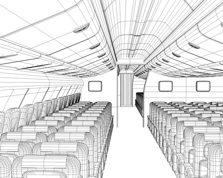 旅客機内客席(ワイヤーフレーム)(3Dの乗り物)