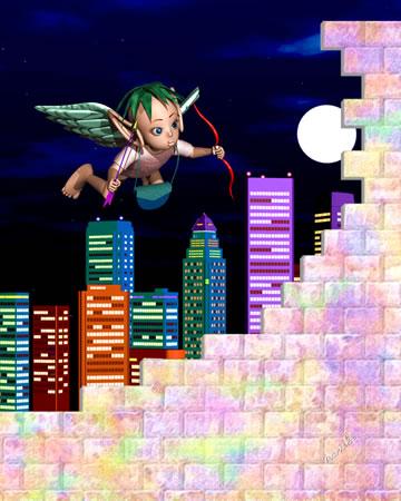 エンジェルと都市と壁(3Dキャラクター)