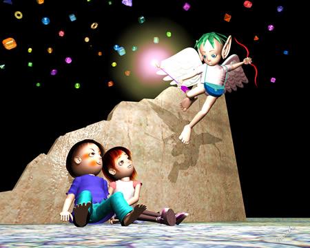 エンジェルと子供達(3Dキャラクター)