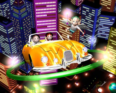 エンジェルと子供達と車(3Dキャラクター)