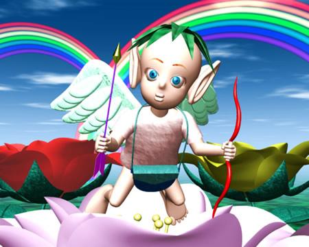 エンジェルと花と虹(3Dキャラクター)