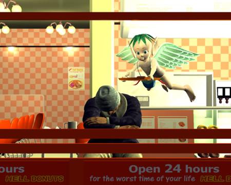 エンジェルとドーナツ店の男(3Dキャラクター)