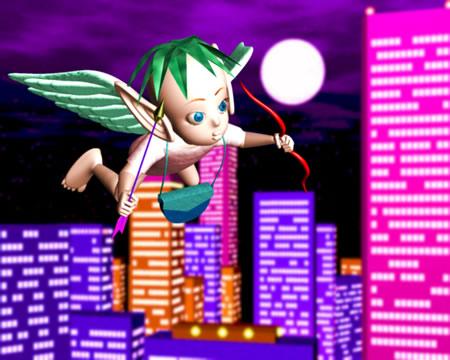 エンジェルと夜の街(3Dキャラクター)