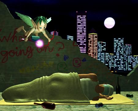 エンジェルと男と酒瓶(3Dキャラクター)