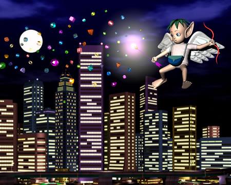 エンジェルと夜景(3Dキャラクター)