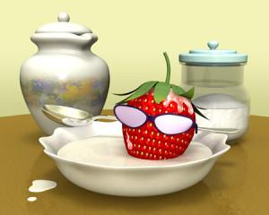 ストロベリー野郎とミルク風呂(3Dキャラクター)
