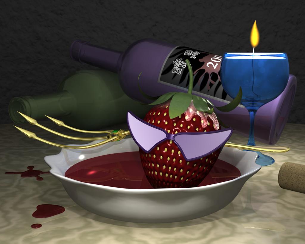 3DCG壁紙 暗黒ストロベリー野郎のワイン風呂