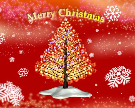 クリスマスツリーと雪(その他の3DCG)