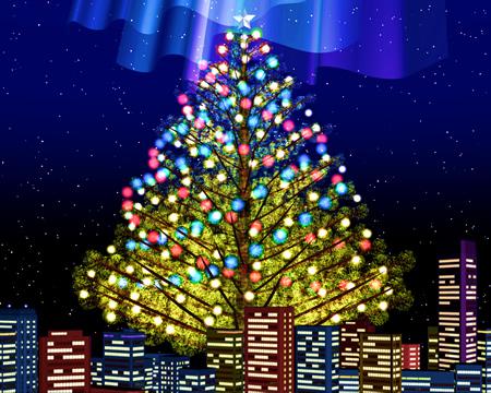 クリスマスツリーと街(その他の3DCG)