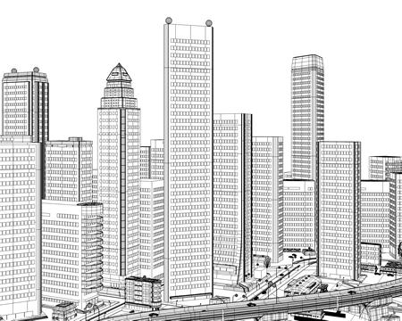 高層ビル群(ワイヤーフレーム正面)(3Dの建物・街)