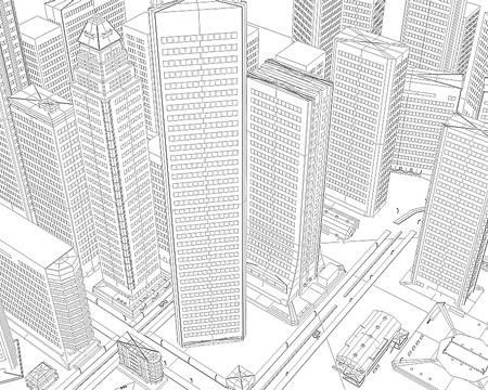 高層ビル群(ワイヤーフレーム上から)(3Dの建物・街)
