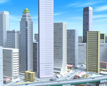 高層ビル群(別角度)(3Dの建物・街)