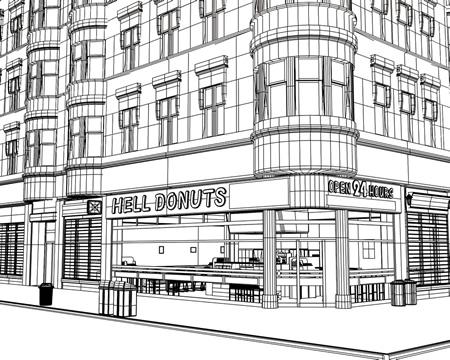 地獄のドーナツ屋(ワイヤーフレーム)(3Dの建物・街)