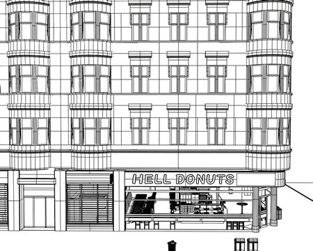 地獄のドーナツ屋(ワイヤーフレーム別角度)(3Dの建物・街)