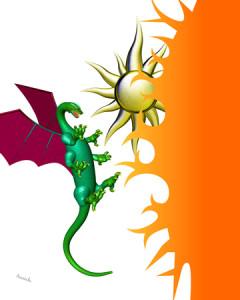 ドラゴンと太陽(3Dキャラクター)
