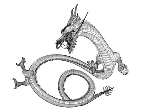 東洋の龍(ワイヤーフレーム)(3Dキャラクター)