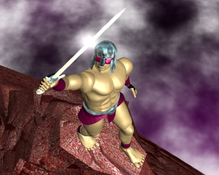戦士と剣(3Dキャラクター)