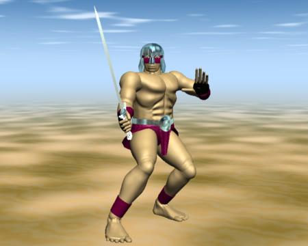 構える戦士(3Dキャラクター)