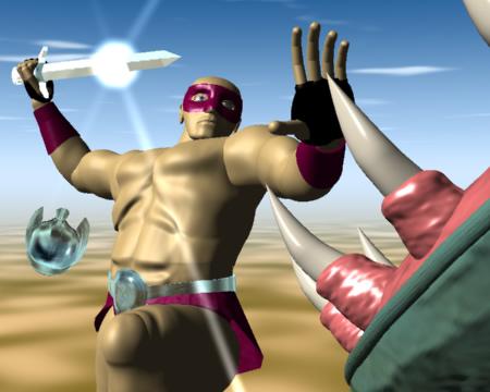 跳ぶ戦士(3Dキャラクター)