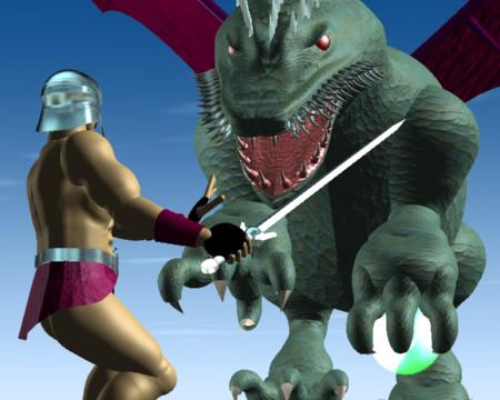 戦士とドラゴン(3Dキャラクター)