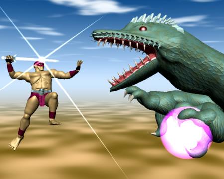 戦士対ドラゴン(3Dキャラクター)