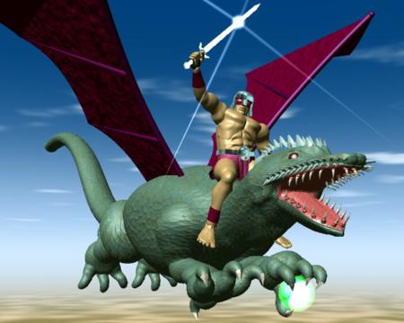 ドラゴンに乗る戦士(3Dキャラクター)