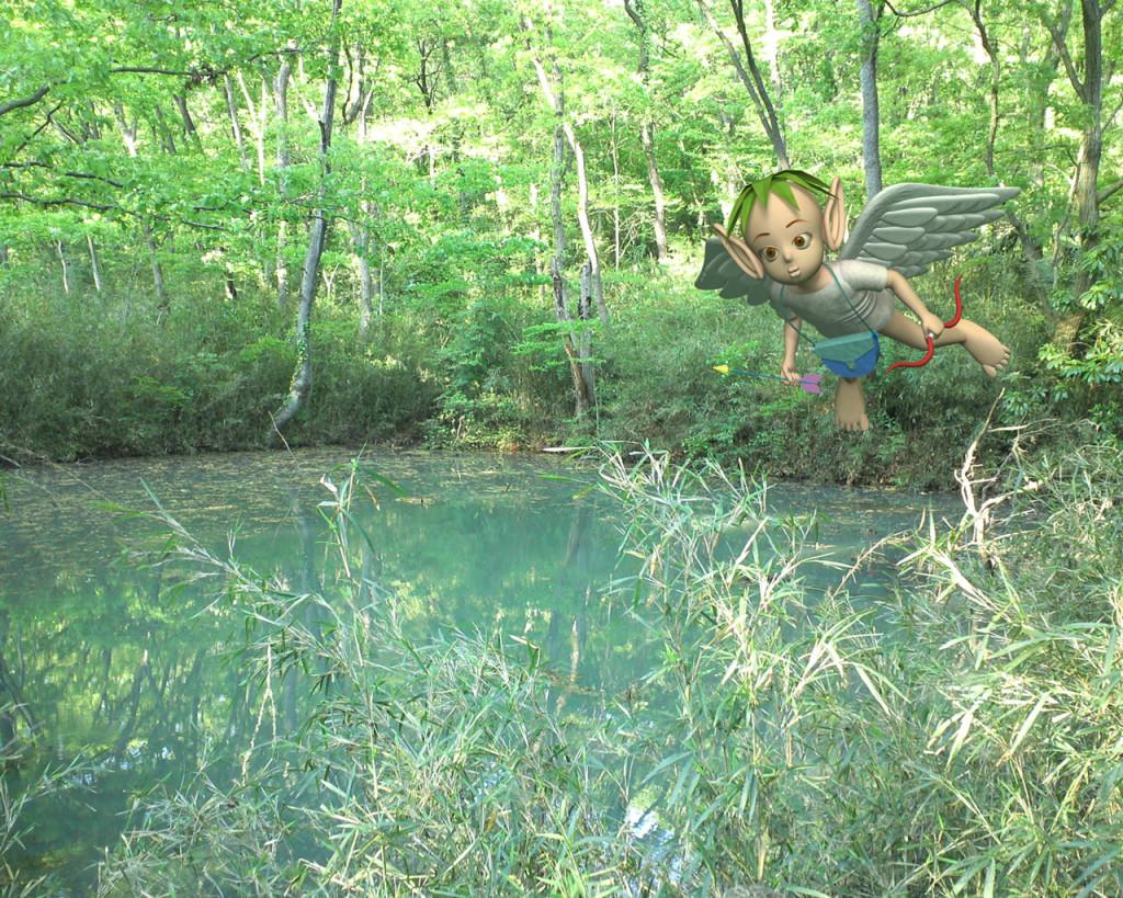 3DCG壁紙 ふたつ池の天使(合成)