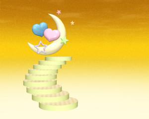 ハートと星と月と階段(その他の3DCG)