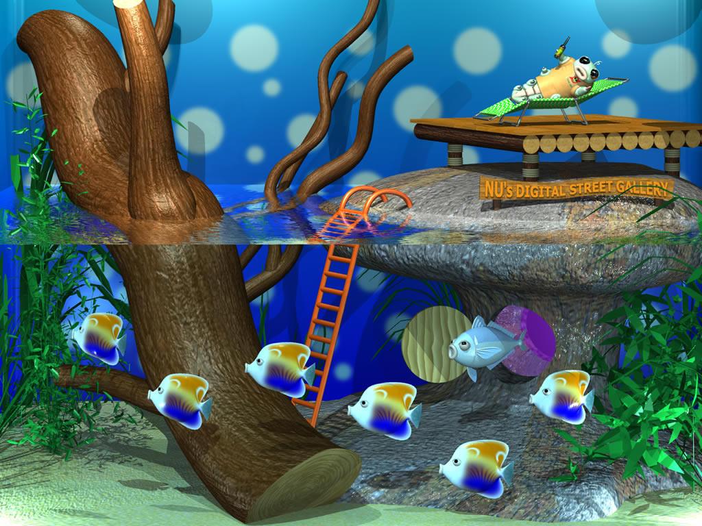 3DCG壁紙 水槽の芋川喜三郎