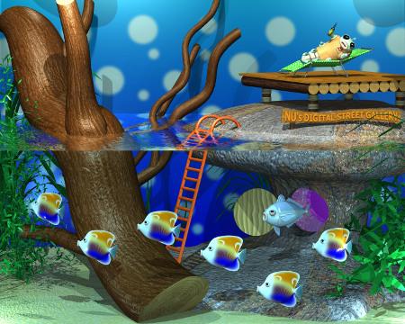 芋川喜三郎と水槽(3Dキャラクター)
