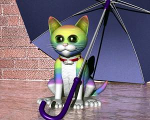 虹色の猫と傘(3Dキャラクター)